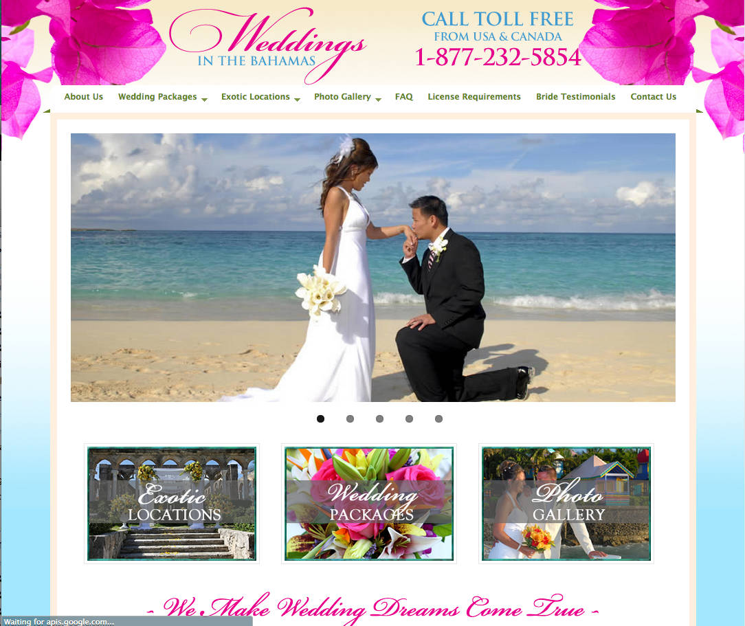 Screen capture of home page of Weddings in the Bahamas