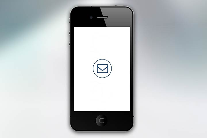 Image of an iPhone with an email icon on the screen